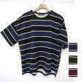【セール】【新着】Cuirs(キュイー)メンズTシャツ オリジナルビックボーダーTシャツ新作デザイン