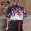 【新着】Cuirs(キュイー)メンズTシャツ オリジナルサラサラローズプリントTシャツ新作デザイン