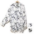 【新着】Cuirs(キュイー)メンズシャツ オリジナルリーフプリントカットオフオーバーサイズシャツ新作デザイン