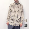 【SALE】Cuirs(キュイー)メンズシャツ オリジナルドット総柄ドルマンスリーブシャツ新作デザイン