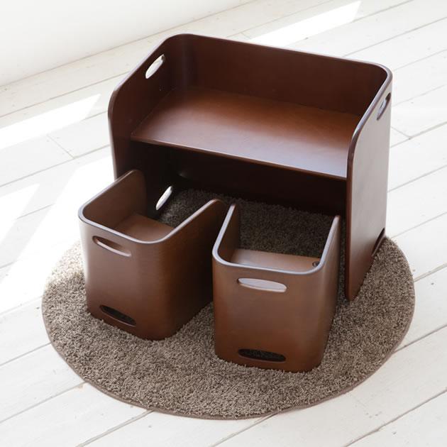 【COLO COLO Chair & Desk】天然木のブナ材を使用したベビー用の椅子と子供机 3点セット(机1台・椅子2脚) color:ウオールナット