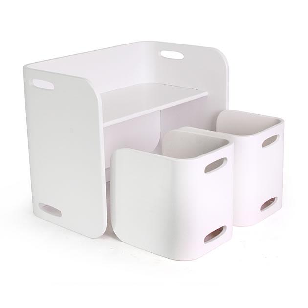 【COLO COLO Chair & Desk】天然木のブナ材を使用したベビー用の椅子と子供机 3点セット(机1台・椅子2脚) color:ホワイト