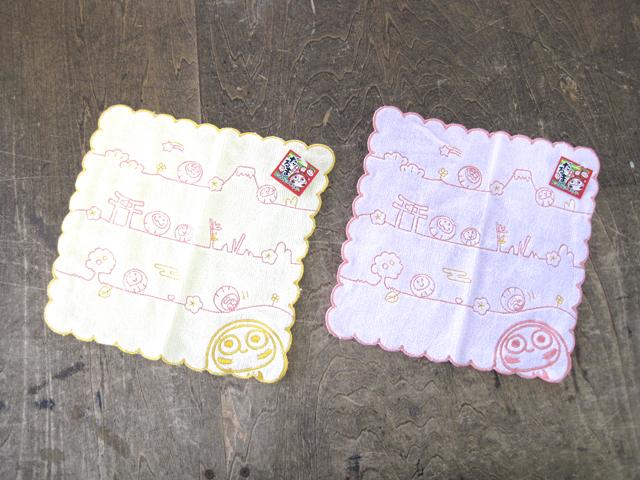 刺繍ハンカチタオル ダルマ