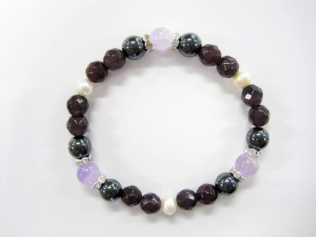 縁起物シリーズ 御守石×磁気ヘマタイトブレスレット【和】紫水晶 0111