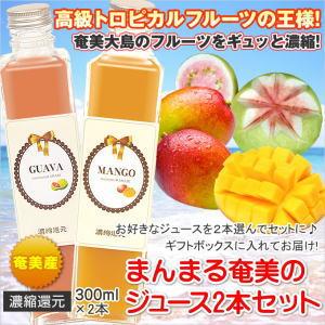 【奄美】まんまる奄美のジュース300ml×2本セット【マンゴー、パッション、グアバ、たんかん、すもも】