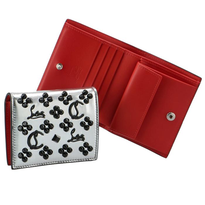 クリスチャンルブタン CHRISTIAN LOUBOUTIN 財布 二つ折り レディース マルチメタル スパイクウォレット シルバー系 1215055 0001 3252