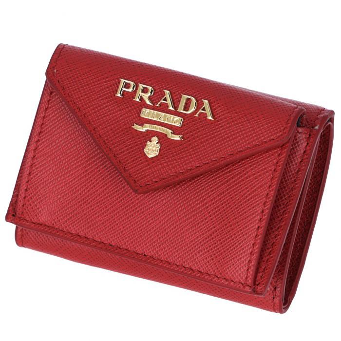 9f6bd9a8f972 プラダ PRADA 2019年春夏新作 三つ折り財布 ミニ財布 サフィアーノ 三つ折り財布.