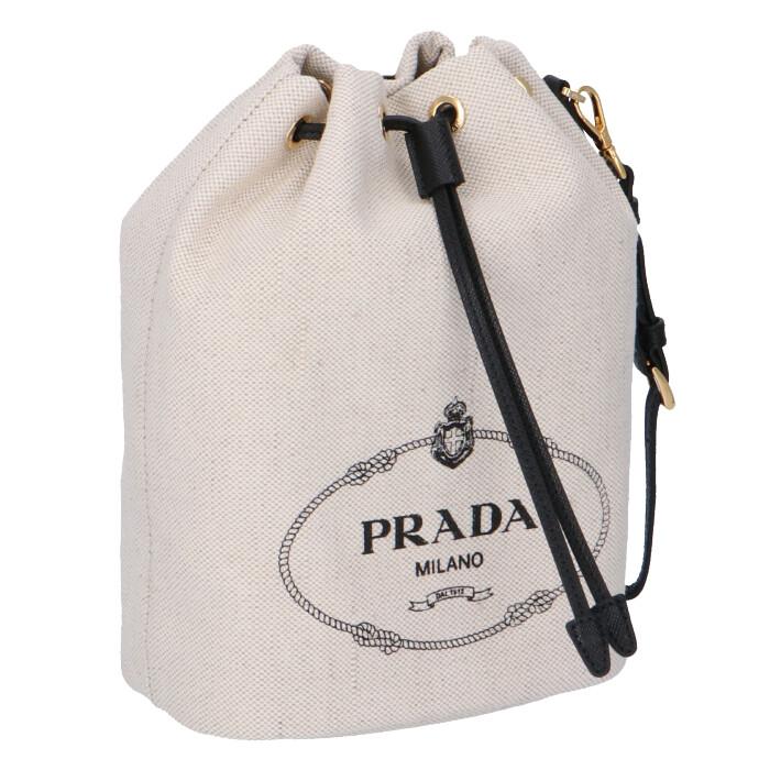 プラダ PRADA 2020年春夏新作 ロゴ キャンバス ミニ バケットバッグ 巾着バッグ ポーチ 1NE369 ZPX I55
