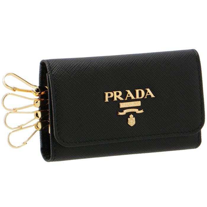 プラダ PRADA キーケース 4連 レディース サフィアーノ ブラック 1PG004 QWA 002