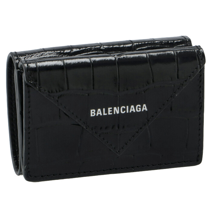 バレンシアガ BALENCIAGA 財布 三つ折り ミニ財布 ペーパー PAPIER クロコ ブラック 391446 1U6QN 1000
