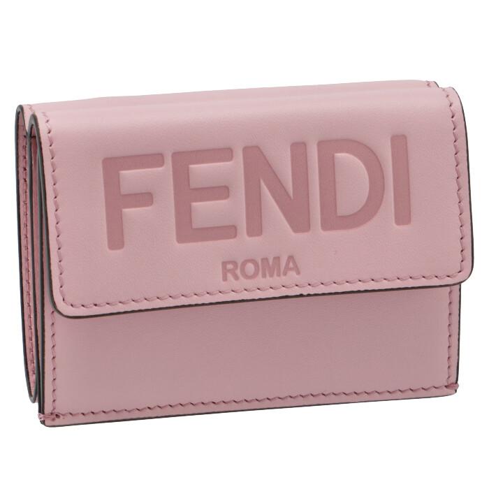 フェンディ FENDI 2021年秋冬新作 財布 三つ折り ミニ財布 FENDI ROMA ピンク系 8M0395 AAYZ F1CJY