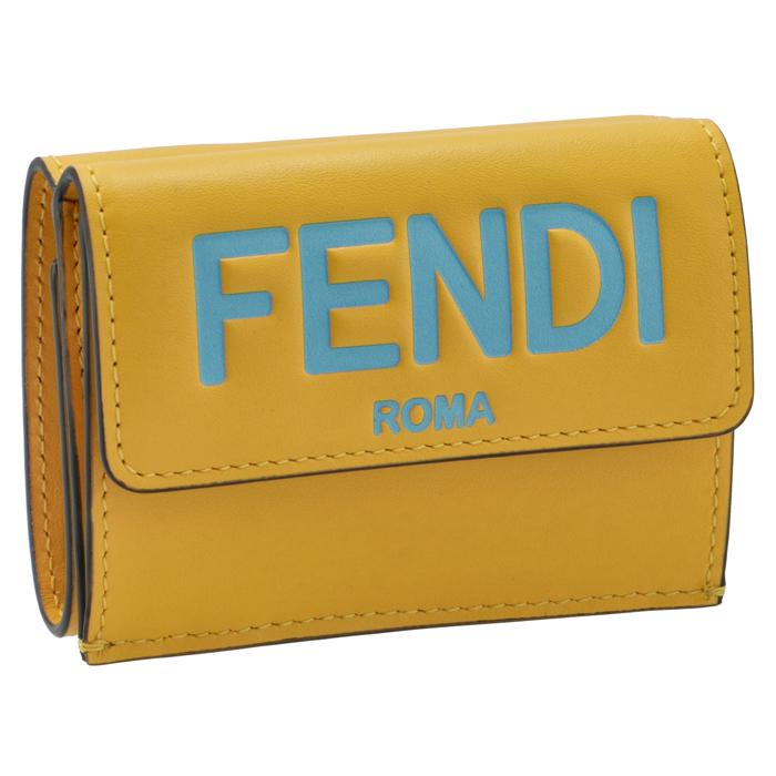フェンディ FENDI 財布 三つ折り ミニ財布 FENDI ROMA イエロー系 8M0395 AHNI F1EEV