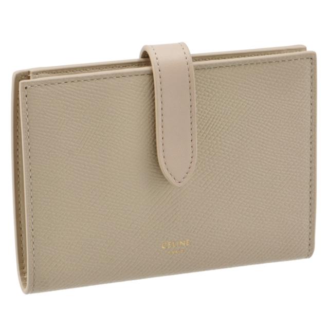 セリーヌ CELINE 財布 二つ折り ミディアム ストラップ ウォレット ベージュ系 10B64 3BRU 03LW