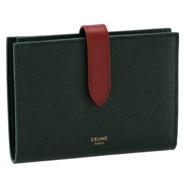 セリーヌ CELINE 財布 二つ折り ミディアム ストラップ ウォレット ダークグリーン×レッド 10B64 3BRU 31AT