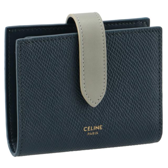 セリーヌ CELINE 財布 二つ折り スモール ストラップ ウォレット ネイビー系 バイカラー 10H26 3BRU 07PV