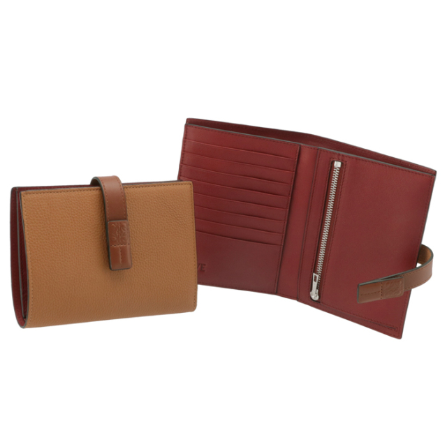 ロエベ LOEWE 財布 二つ折り ミディアム バーティカル ウォレット ブラウン系 ライトキャラメル 12412S87 0051 3639