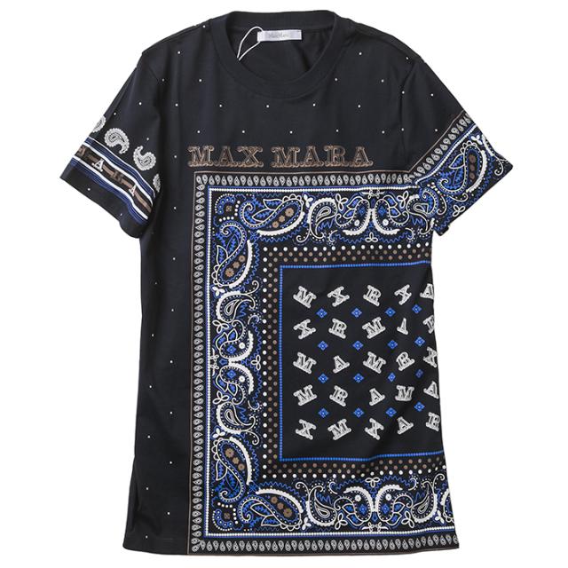マックスマーラ MAX MARA 2021年秋冬新作 Tシャツ ピュア コットン ジャージー ORESTE スカーフプリント ネイビー系 19760119600 13034 008