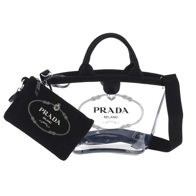 プラダ PRADA 2019年春夏新作 バッグ ショルダー プレックス PVC 2wayバッグ ロゴクリアショルダーバッグ 2WAYハンドバッグ 1BG187OOO 2BY5 002