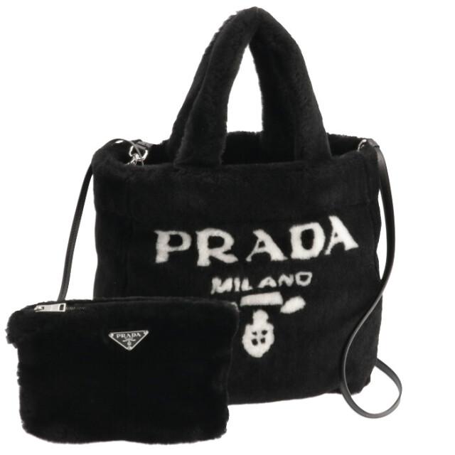 プラダ PRADA 2021年秋冬新作 シアリング トート SHEARLING シープファー ロゴ ショルダーバッグ ブラック 1BG374MIO 2EC9 967