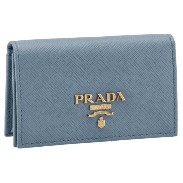 プラダ PRADA 2021年秋冬新作 カードケース 名刺入れ レディース サフィアーノメタル ブルー系 1MC122 QWA 637