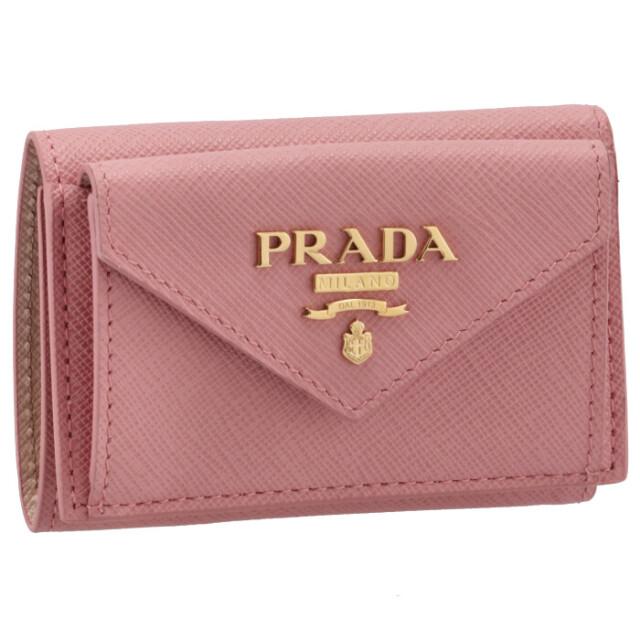 プラダ PRADA 2021年秋冬新作 財布 三つ折り サフィアーノ バイカラー ミニ財布 ピンク×ベージュ 1MH021 ZLP FZ3