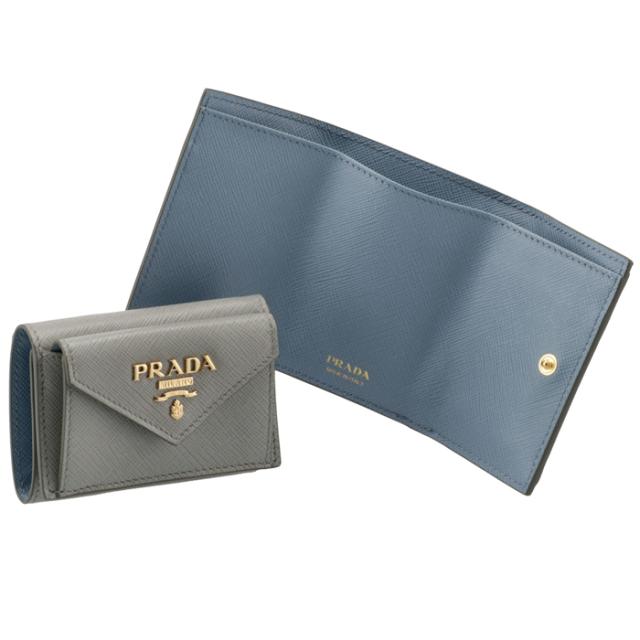 プラダ PRADA 2021年秋冬新作 財布 三つ折り サフィアーノ バイカラー ミニ財布 グレー×ブルー 1MH021 ZLP NNT