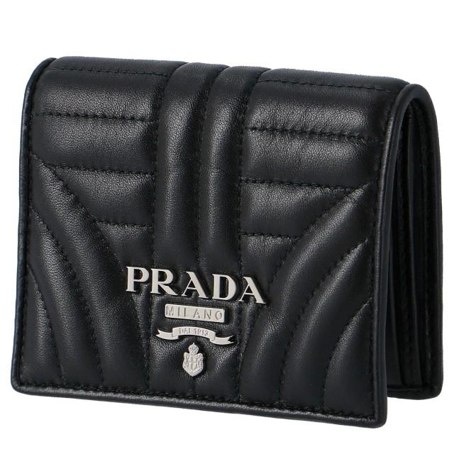 プラダ PRADA 2018年秋冬新作 ミニ財布  DIAGRAMME ダイアグラム 二つ折り財布 1MV204 2B0X 002