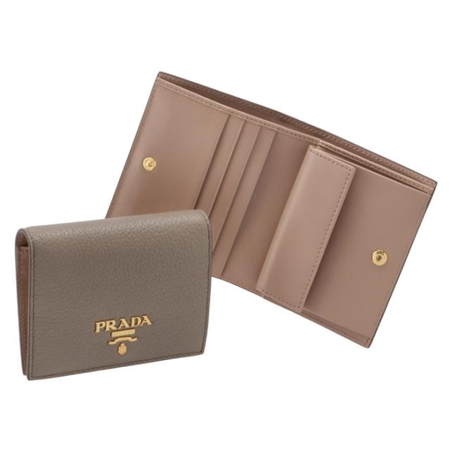 プラダ PRADA 2021年秋冬新作 財布 二つ折り カーフレザー ミニ財布 バイカラー レディース グレー×ベージュ 1MV204 2BG5 1OV