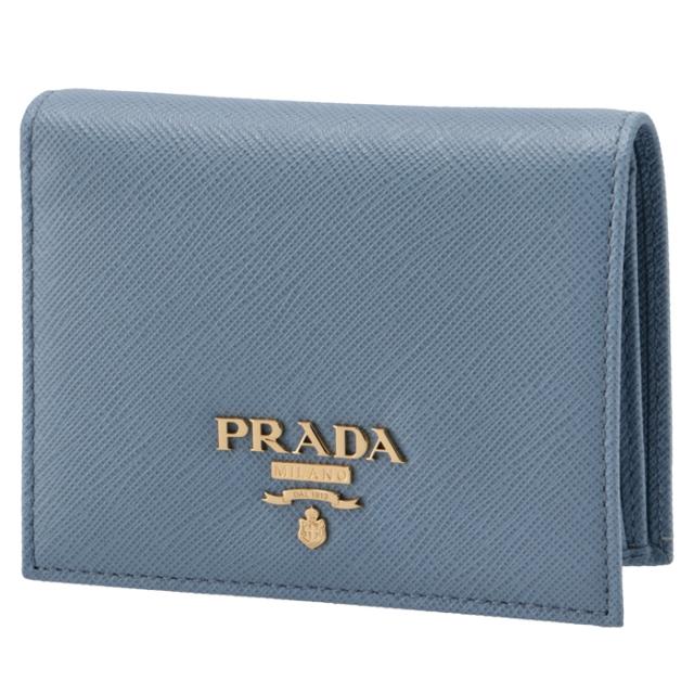 プラダ PRADA 2021年秋冬新作 財布 二つ折り ミニ財布 サフィアーノ レディース ブルー系 1MV204 QWA 637