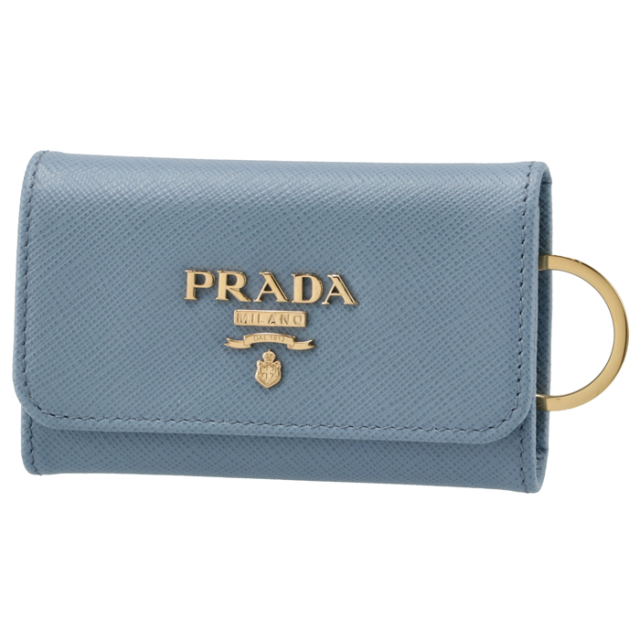 プラダ PRADA 2021年秋冬新作 キーケース 4連 レディース サフィアーノ ブルー系 1PG004 QWA 637