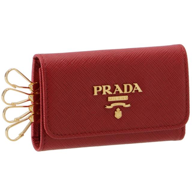 プラダ PRADA キーケース 4連 レディース サフィアーノ レッド 1PG004 QWA 68Z