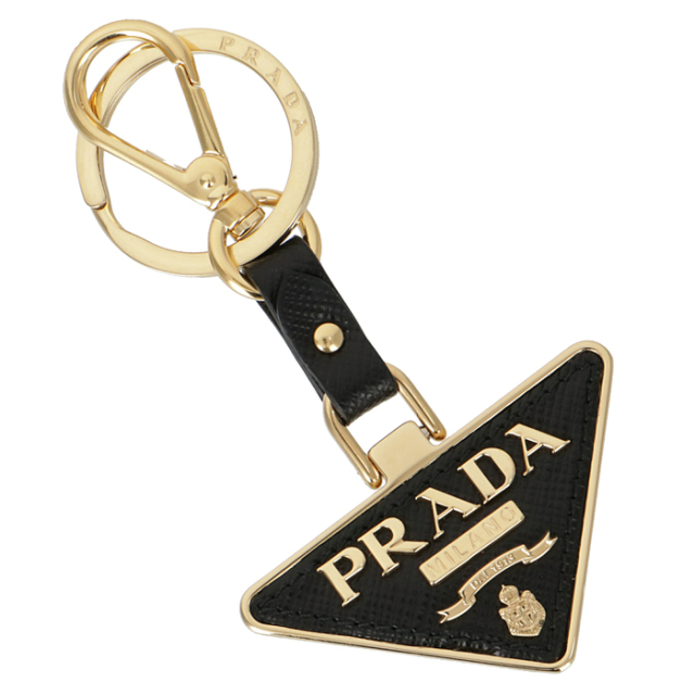 プラダ PRADA 2020年春夏新作 サフィアーノ トライアングル レザー キーホルダー キーリング キーホルダー/キーリング 1PP128 053 002
