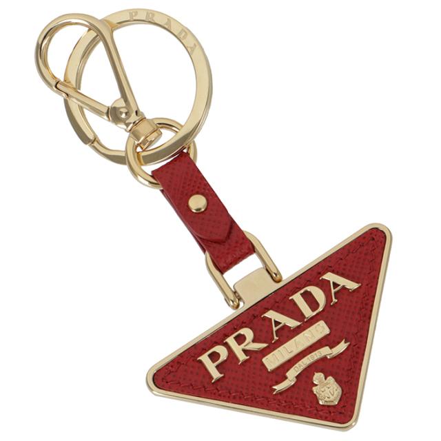 プラダ PRADA サフィアーノレザー キーホルダー キーリング レッド系 1PP128 053 68Z
