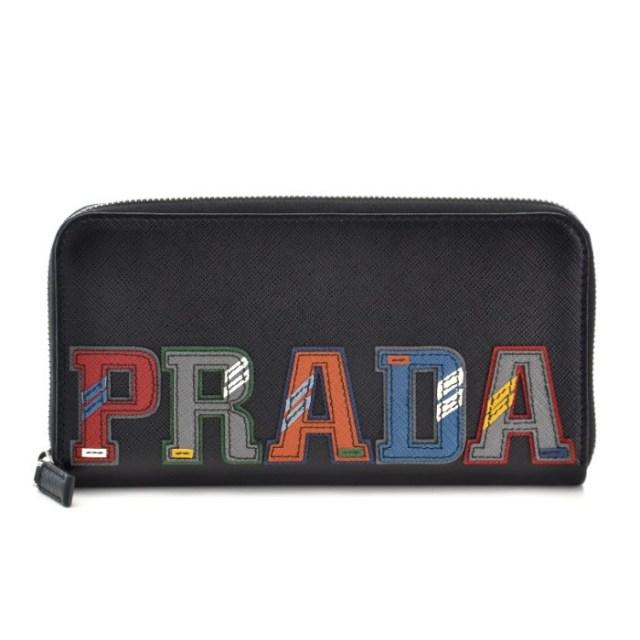 プラダ PRADA 2018年春夏新作 ブラック系 マルチカラー メンズ ラウンドファスナー長財布 2ML317 2EC4 SGI