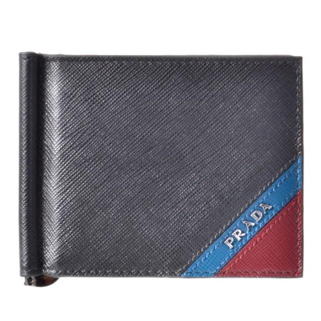 プラダ PRADA 2019年春夏新作 メンズ マネークリップ式 二つ折り財布 カード入れ付き 2MN077 2EGO XW7