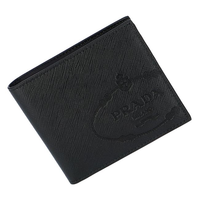プラダ PRADA 2019年春夏新作 メンズ 二つ折り財布 小銭入れ無し サフィアーノ エンボスロゴプリント 2MO513 2MB8 002