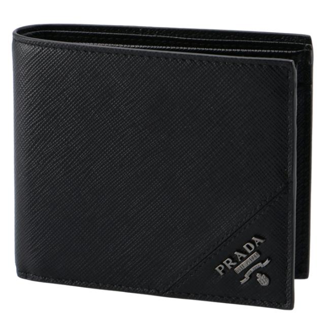 プラダ PRADA 財布 型押しカーフスキン メンズ 二つ折り財布 2MO738 QME 002