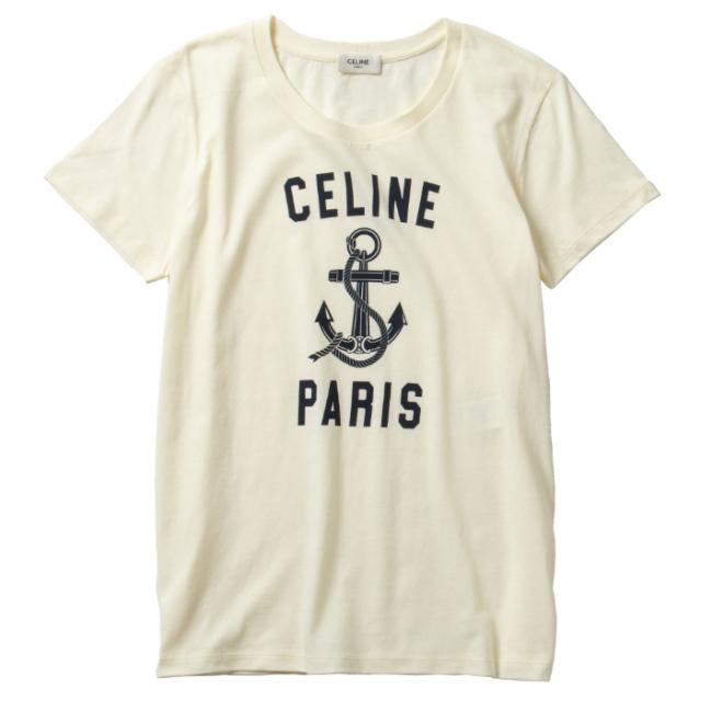 セリーヌ CELINE アンカー Tシャツ クルーネック Tシャツ/カットソー 2X585 114L 01BI