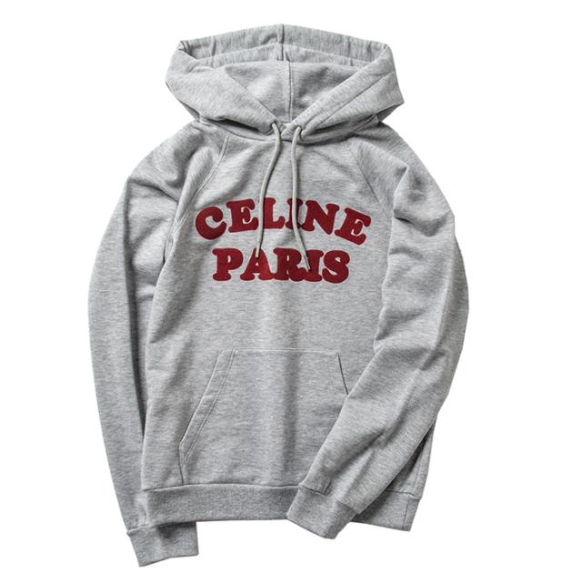 セリーヌ CELINE パーカー MOLLETON FLOCK CELINE PARIS フーディ スウェット グレー系 2Y147 607F 10DB