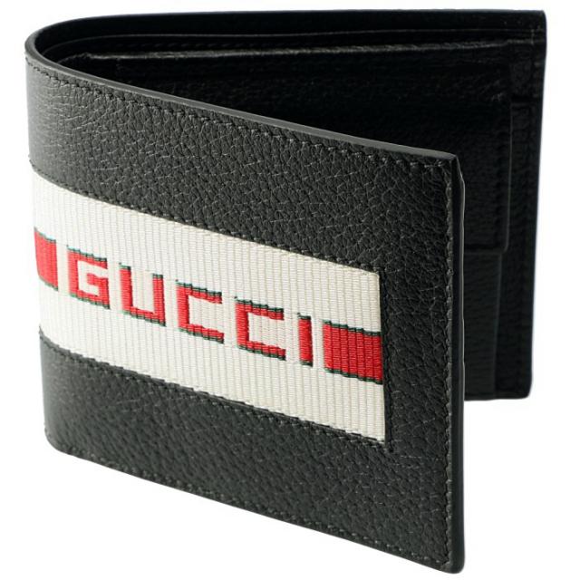 グッチ GUCCI 2019年春夏新作 財布 メンズ 二つ折り 小銭入れ付き ストライプ レザーウォレット  メンズ 二つ折り財布 408826 CWGRN 1094