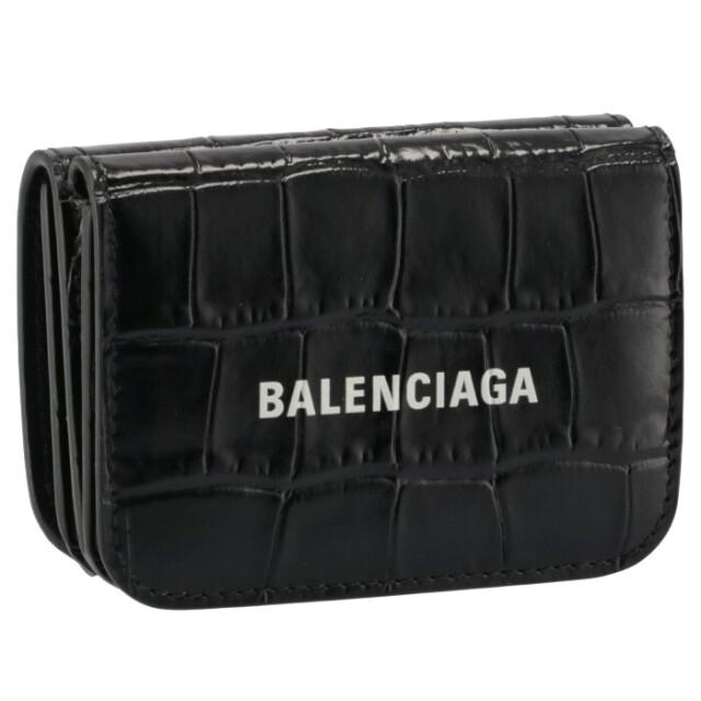 バレンシアガ BALENCIAGA 2021年秋冬新作 財布 三つ折り クロコ ミニ財布 ロゴ キャッシュ ミニウォレット ブラック 593813 1LRR3 1090