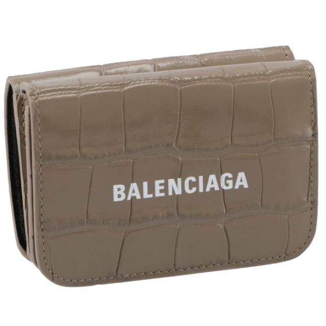 バレンシアガ BALENCIAGA 2021年秋冬新作 財布 三つ折り クロコ ミニ財布 ロゴ キャッシュ ミニウォレット ベージュブラウン 593813 1LRR3 1290