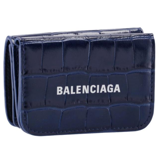 バレンシアガ BALENCIAGA 2021年秋冬新作 財布 三つ折り クロコ ミニ財布 ロゴ キャッシュ ミニウォレット ネイビー系 593813 1LRR3 4690