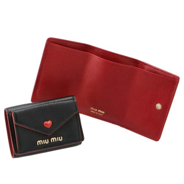 ミュウミュウ MIU MIU 財布 三つ折り ミニ財布 マドラスLOVE ミニウォレット 三つ折り財布 5MH021 2BC3 002