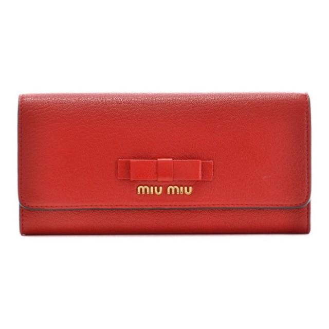 ミュウミュウ MIU MIU 2017年秋冬新作 二つ折り 財布 マドラス 二つ折り長財布 5MH109 3R7 JU2