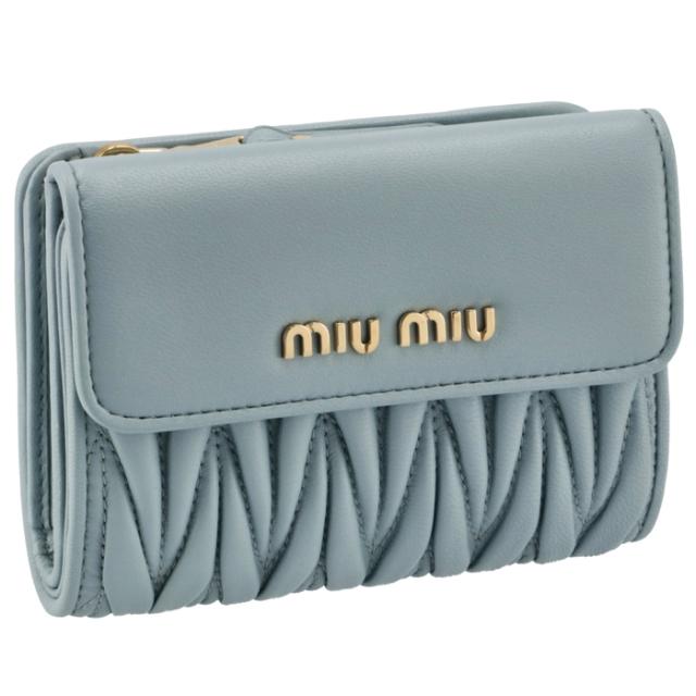 ミュウミュウ MIU MIU 2021年秋冬新作 財布 二つ折り マテラッセ 折りたたみ ブルー系 5ML002 N88 012