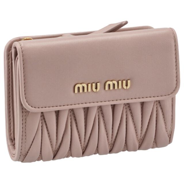 ミュウミュウ MIU MIU 2021年秋冬新作 財布 二つ折り マテラッセ 折りたたみ ピンク系 5ML002 N88 D91