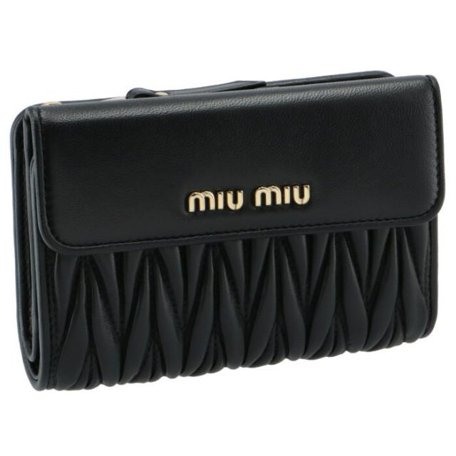 ミュウミュウ MIU MIU 財布 二つ折り マテラッセ 折りたたみ財布 ブラック 5ML225 N88 002