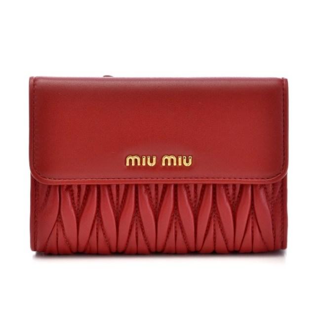 ミュウミュウ MIU MIU 2017年秋冬新作 マテラッセ 財布 三つ折り財布 5ML225 N88 68Z