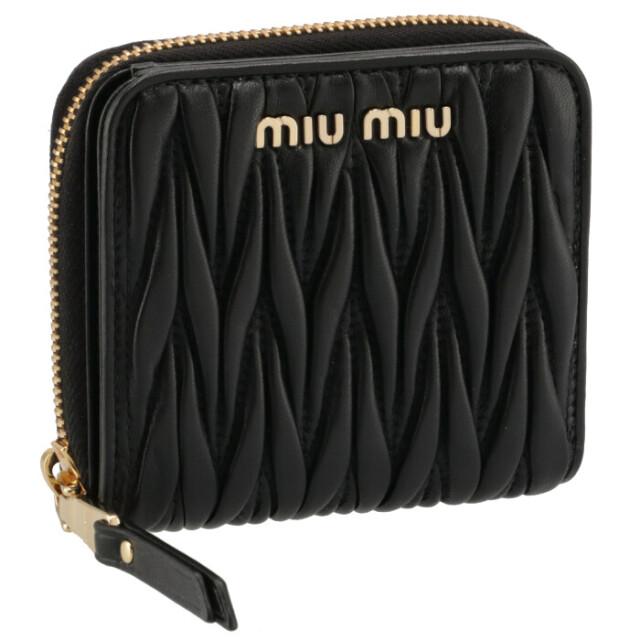 ミュウミュウ MIU MIU 2021年秋冬新作 財布 二つ折り マテラッセ ミニウォレット ラウンドジップ ブラック 5ML522 N88 002
